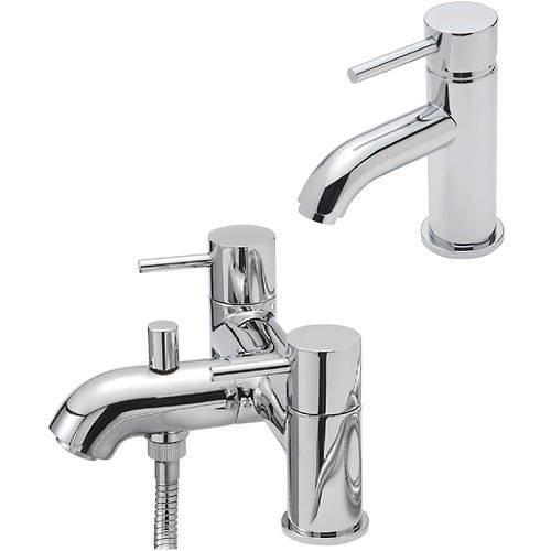 Tre Mercati Milan Mono Basin & Pillar Bath Shower Mixer Tap Pack (Chrome).
