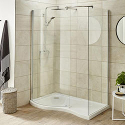 Premier Enclosures Walk In Shower Enclosure & Tray (Left Handed, 1395x906).