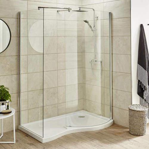 Premier Enclosures Walk In Shower Enclosure & Tray (Right Handed, 1395x906).