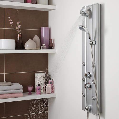 Nuie Showers Ripple Thermostatic Push Button Shower Panel (Aluminium).