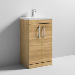 Nuie Furniture Vanity Unit With 2 x Doors & Basin 500mm (Natural Oak).