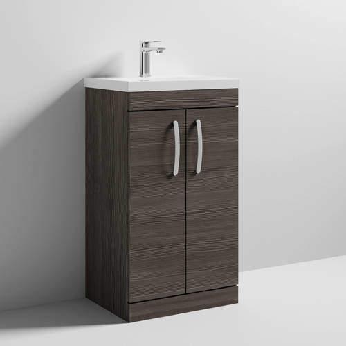 Nuie Furniture Vanity Unit With 2 x Doors & Basin 500mm (Brown Grey Avola).