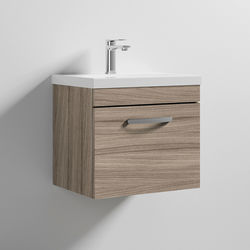 Nuie Furniture Wall Vanity Unit With 1 x Drawer & Basin 500mm (Driftwood).