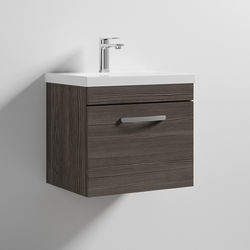Nuie Furniture Wall Vanity Unit With 1 x Drawer & Basin 500mm (Grey Avola).