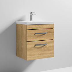 Nuie Furniture Wall Vanity Unit With 2 x Drawer & Basin 500mm (Natural Oak).