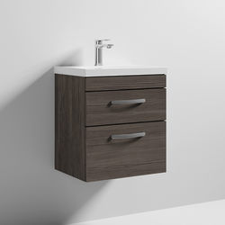 Nuie Furniture Wall Vanity Unit With 2 x Drawer & Basin 500mm (Grey Avola).