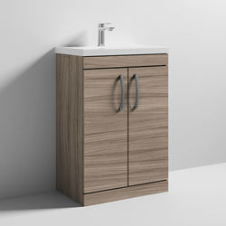 Nuie Furniture Vanity Unit With 2 x Doors & Basin 600mm (Driftwood).