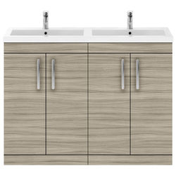 Nuie Furniture Vanity Unit With 4 x Doors & Double Basin (Driftwood).