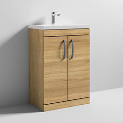 Nuie Furniture Vanity Unit With 2 x Doors & Basin 600mm (Natural Oak).