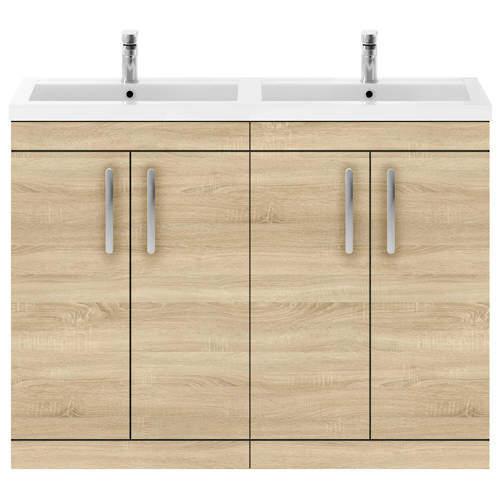 Nuie Furniture Vanity Unit With 4 x Doors & Double Basin (Natural Oak).