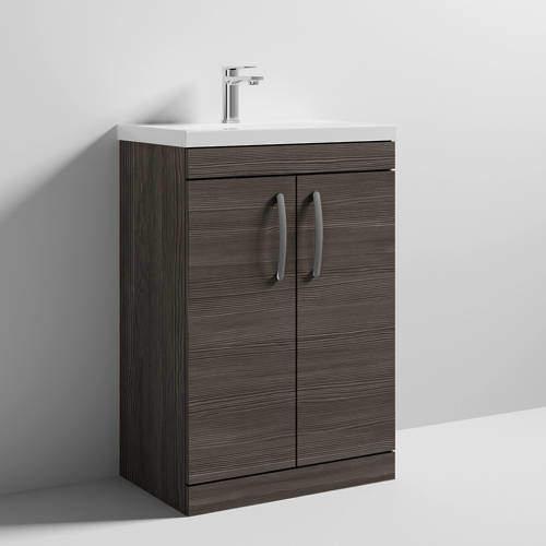 Nuie Furniture Vanity Unit With 2 x Doors & Basin 600mm (Brown Grey Avola).