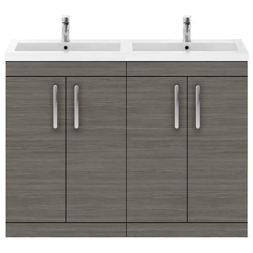 Nuie Furniture Vanity Unit With 4 x Doors & Double Basin (Brown Grey Avola).
