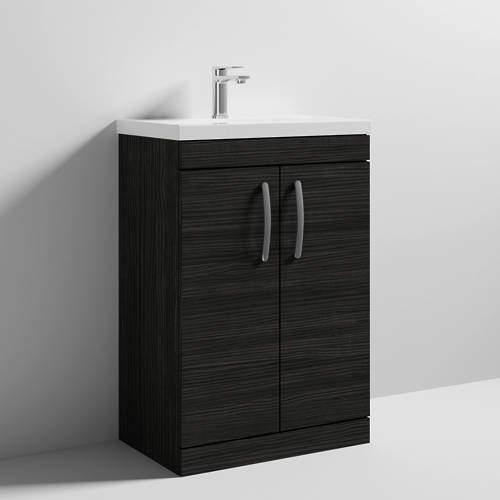 Nuie Furniture Vanity Unit With 2 x Doors & Basin 600mm (Hacienda Black).
