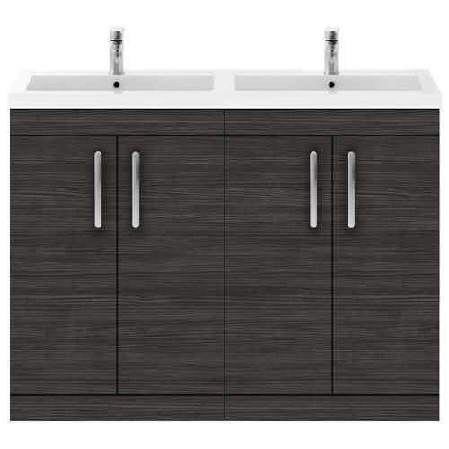 Nuie Furniture Vanity Unit With 4 x Doors & Double Basin (Hacienda Black).