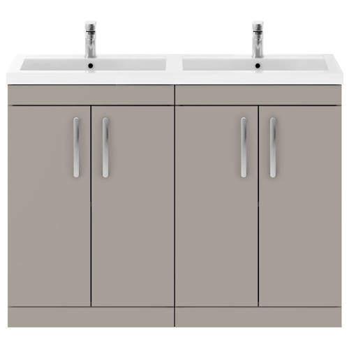 Nuie Furniture Vanity Unit With 4 x Doors & Double Basin (Stone Grey).