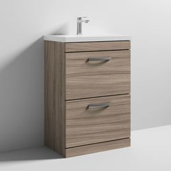 Nuie Furniture Vanity Unit With 2 x Drawers & Basin 600mm (Driftwood).