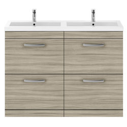 Nuie Furniture Vanity Unit With 4 x Drawers & Double Basin (Driftwood).