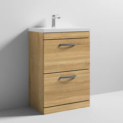 Nuie Furniture Vanity Unit With 2 x Drawers & Basin 600mm (Natural Oak).