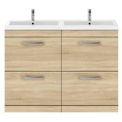 Nuie Furniture Vanity Unit With 4 x Drawers & Double Basin (Natural Oak).