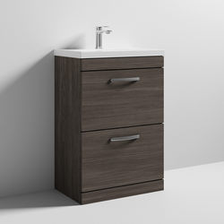 Nuie Furniture Vanity Unit With 2 x Drawers & Basin 600mm (Brown Grey Avola).