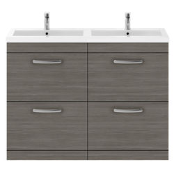 Nuie Furniture Vanity Unit With 4 x Drawers & Double Basin (Brown Grey Avola).