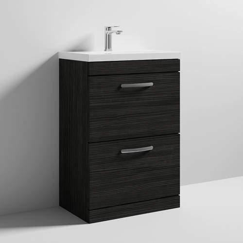 Nuie Furniture Vanity Unit With 2 x Drawers & Basin 600mm (Hacienda Black).