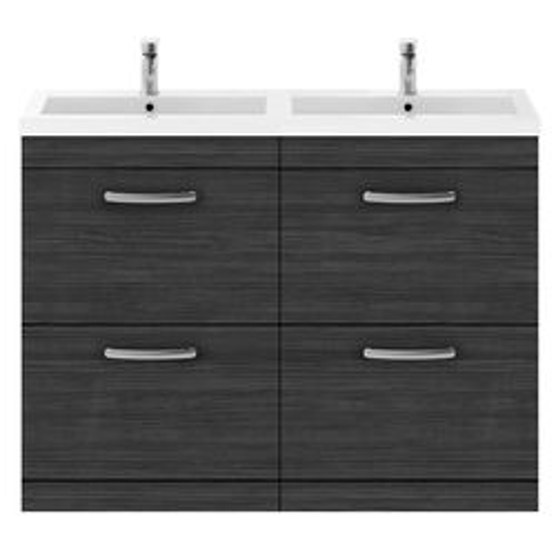 Nuie Furniture Vanity Unit With 4 x Drawers & Double Basin (Hacienda Black).