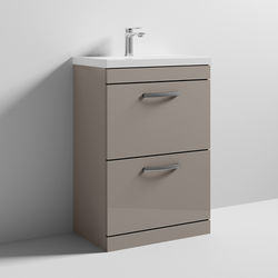 Nuie Furniture Vanity Unit With 2 x Drawers & Basin 600mm (Stone Grey).