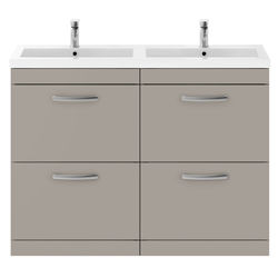 Nuie Furniture Vanity Unit With 4 x Drawers & Double Basin (Stone Grey).