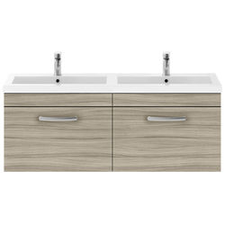 Nuie Furniture Wall Vanity Unit With 2 x Drawers & Double Basin (Driftwood).