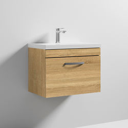 Nuie Furniture Wall Vanity Unit With 1 x Drawer & Basin 600mm (Natural Oak).