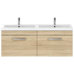 Nuie Furniture Wall Vanity Unit With 2 x Drawers & Double Basin (Natural Oak).