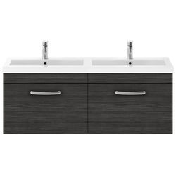 Nuie Furniture Wall Vanity Unit With 2 x Drawers & Double Basin (Hacienda).