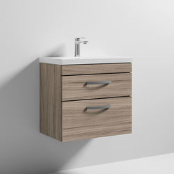 Nuie Furniture Wall Vanity Unit With 2 x Drawer & Basin 600mm (Driftwood).