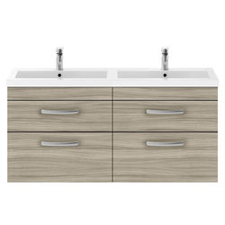 Nuie Furniture Wall Vanity Unit With 4 x Drawers & Double Basin (Driftwood).