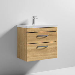 Nuie Furniture Wall Vanity Unit With 2 x Drawer & Basin 600mm (Natural Oak).