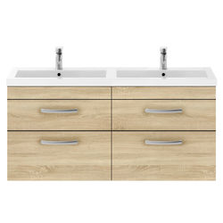 Nuie Furniture Wall Vanity Unit With 4 x Drawers & Double Basin (Natural Oak).