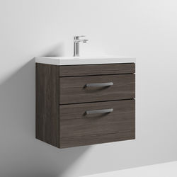 Nuie Furniture Wall Vanity Unit With 2 x Drawer & Basin 600mm (Grey Avola).