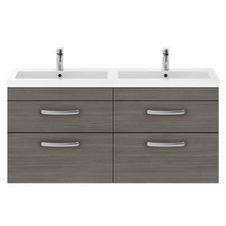 Nuie Furniture Wall Vanity Unit With 4 x Drawers & Double Basin (Grey Avola).
