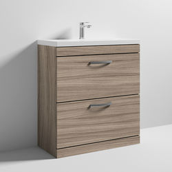 Nuie Furniture Vanity Unit With 2 x Drawers & Basin 800mm (Driftwood).