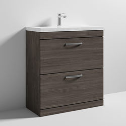 Nuie Furniture Vanity Unit With 2 x Drawers & Basin 800mm (Brown Grey Avola).