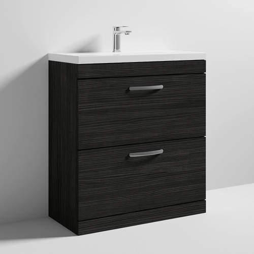 Nuie Furniture Vanity Unit With 2 x Drawers & Basin 800mm (Hacienda Black).