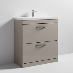 Nuie Furniture Vanity Unit With 2 x Drawers & Basin 800mm (Stone Grey).