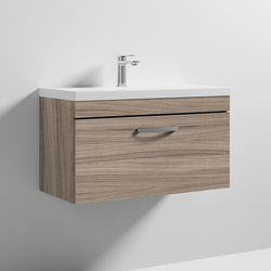 Nuie Furniture Wall Vanity Unit With 1 x Drawer & Basin 800mm (Driftwood).