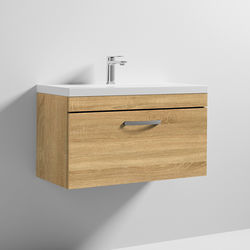 Nuie Furniture Wall Vanity Unit With 1 x Drawer & Basin 800mm (Natural Oak).