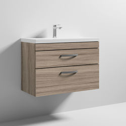 Nuie Furniture Wall Vanity Unit With 2 x Drawer & Basin 800mm (Driftwood).