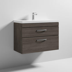 Nuie Furniture Wall Vanity Unit With 2 x Drawer & Basin 800mm (Grey Avola).