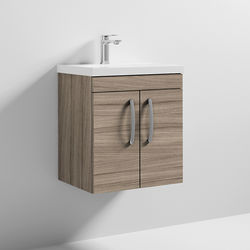 Nuie Furniture Wall Vanity Unit With 2 x Doors & Basin 500mm (Driftwood).