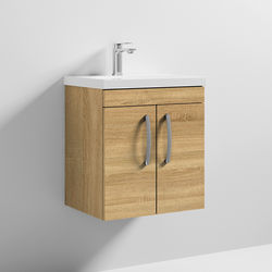 Nuie Furniture Wall Vanity Unit With 2 x Doors & Basin 500mm (Natural Oak).