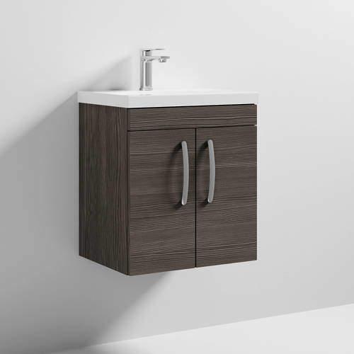Nuie Furniture Wall Vanity Unit With 2 x Doors & Basin 500mm (Brown Grey Avola).